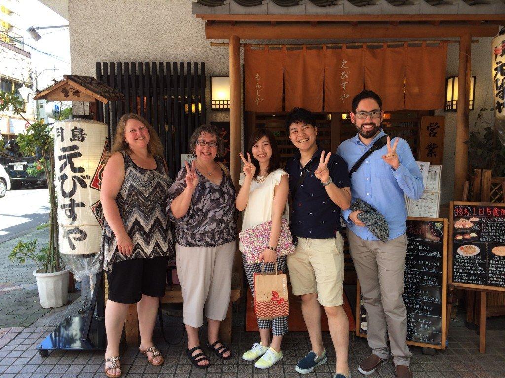 Mom, Shannon, Hiro, Yurina, and I enjoying Monjya-yaki near Odaiba, Tokyo!