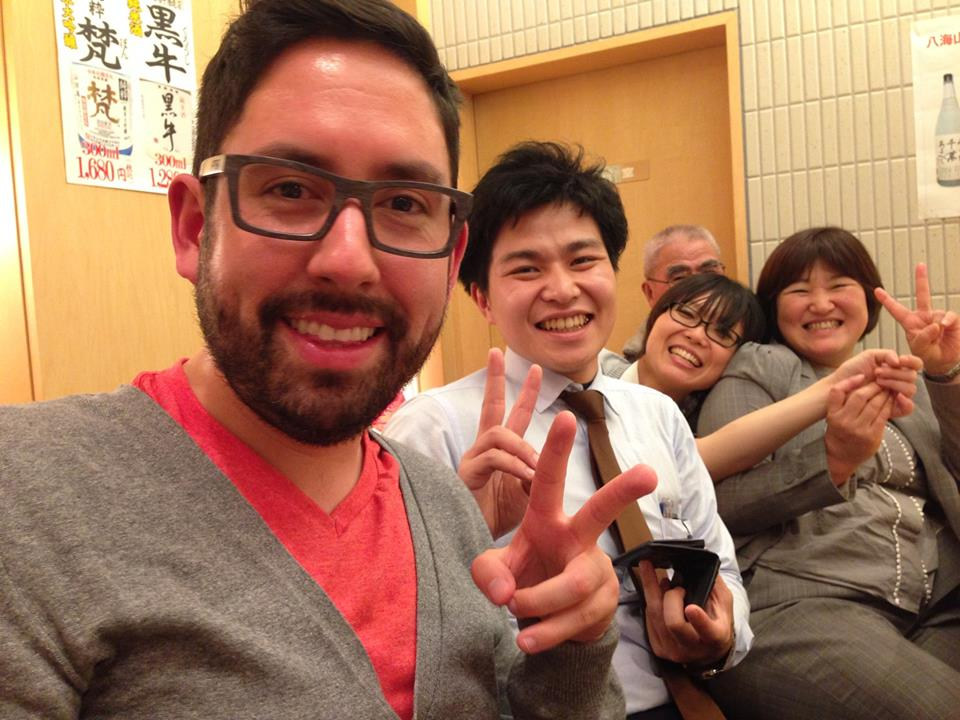 Hiro, Hiro's Mom, and Me enjoying Sushi in Tokyo